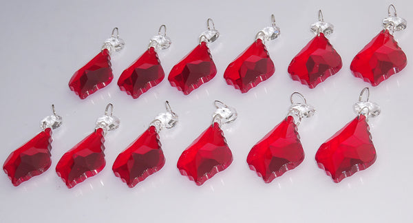 "12 Red Leaf 50 mm 2"" Chandelier Crystals Drops Beads Droplets Christmas Wedding Decorations 8"