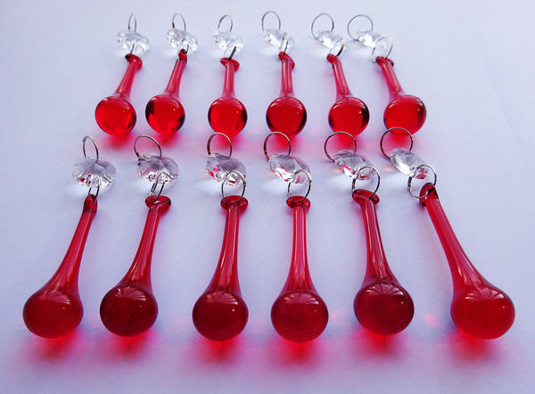 "12 Red Orbs 53 mm 2"" Chandelier Crystals Droplets Beads Drops Christmas Wedding Decorations 4"