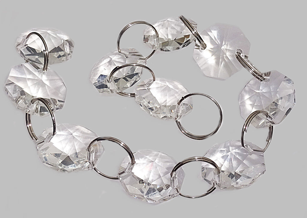 14mm Octagon Clear Transparent Chandelier Drops Cut Glass Crystals Garlands Beads Droplets Parts 2