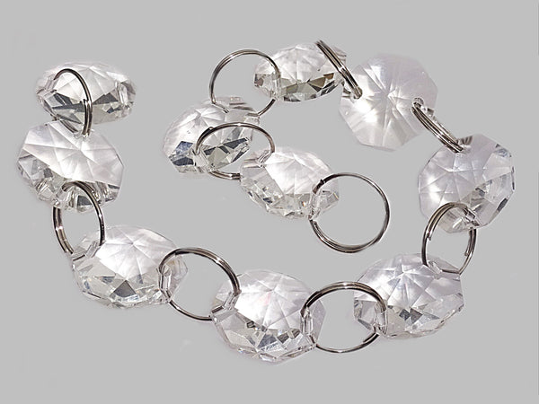 16mm Octagon Clear Transparent Chandelier Drops Cut Glass Crystals Garlands Beads Droplets