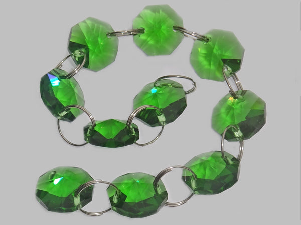 14mm Octagon Emerald Green Chandelier Drops Cut Glass Crystals Garlands Beads Droplets Parts 2