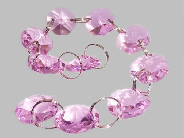 14mm Octagon Pastel Pink Chandelier Drops Cut Glass Crystals Garlands Beads Droplets Parts 2