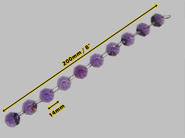 14mm Octagon Purple Chandelier Drops Cut Glass Crystals Garlands Beads Droplets Light Parts 1