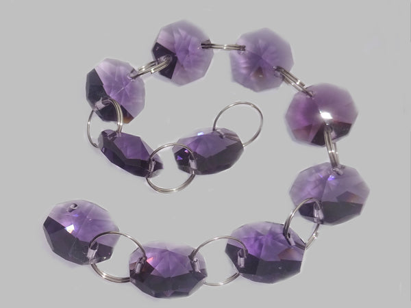 14mm Octagon Purple Chandelier Drops Cut Glass Crystals Garlands Beads Droplets Light Parts 2