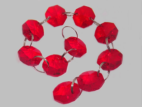 14mm Octagon Red Chandelier Drops Cut Glass Crystals Garlands Beads Droplets Light Parts 2