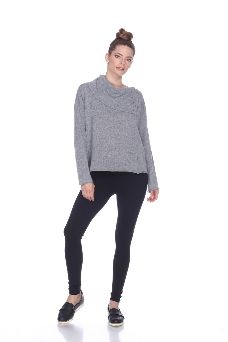Sisters Long Sleeve Cowl Neck Pullover with Side Button Opening
