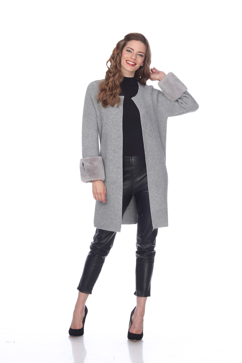 Sisters Long Cardigan with Faux Fur Cuffs