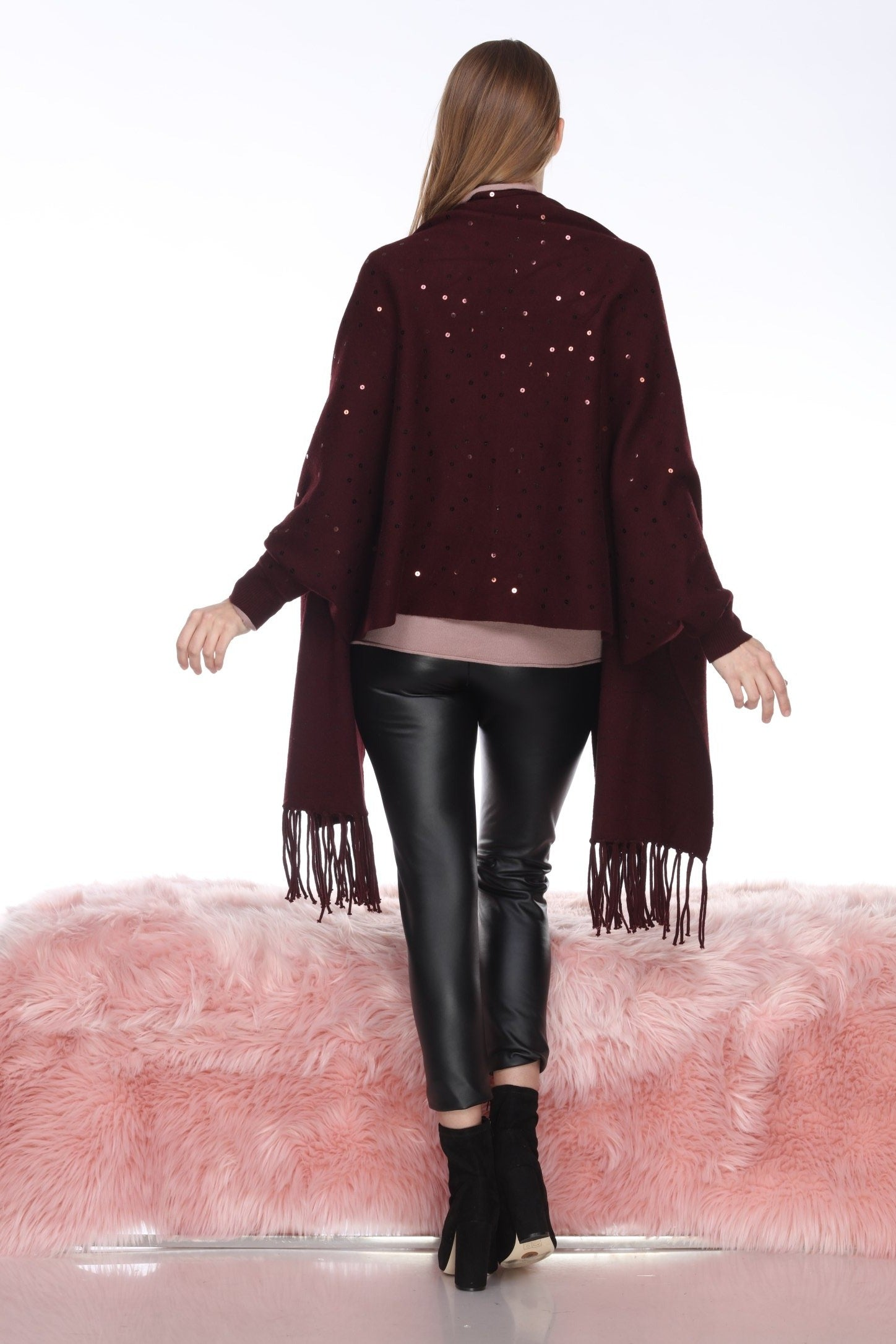Sequin Fringed Cape