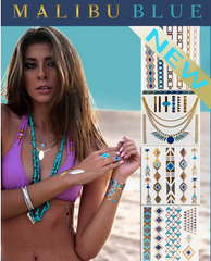 Malibu Blue Metallic Temporary Tattoos