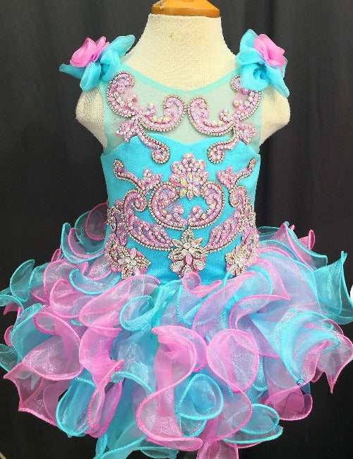 Glitz Beaded Bodice Lace Little Girls/' Nationals Cupcake Pageant Dress