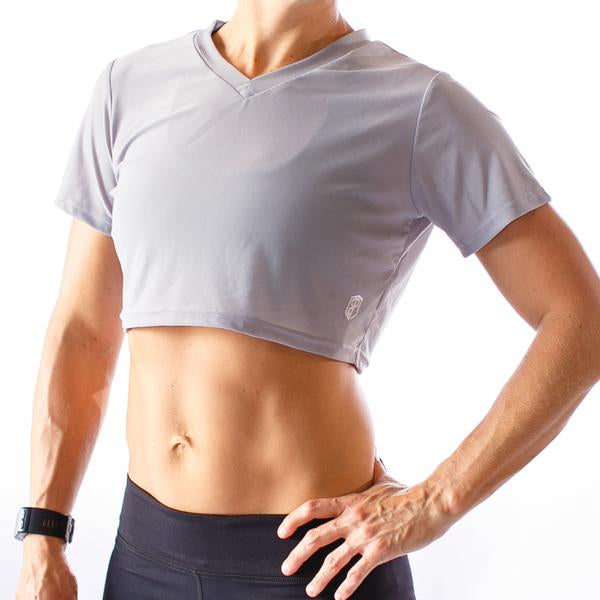 Hot Mesh Short-Sleeved Crop (Steel Grey)