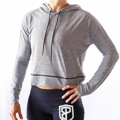 Crop It Like It's Hot Lightweight Hoodie (Heather Grey)