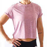 Cuff Off Crop Tee (Rose)