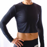 Cross You Off Long Sleeve Crop (Black)