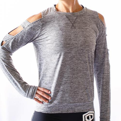 Cold Shoulder Long Sleeve (Heather Grey)