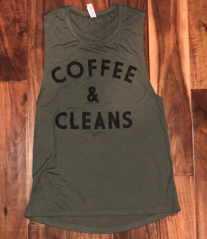 COFFEE & CLEANS Muscle Tank (Military Green) - Women's