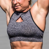 """The Q"" Chestee Sports Bra-Heather Grey"
