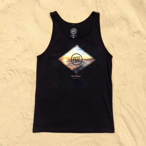 Beach Diamond Unisex Black Tank