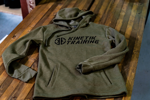 Kinetik Training Logo Fleece Hoodie (Heather Military Green)