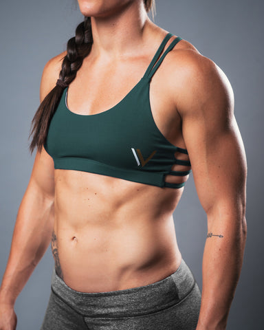 Caged Sports Bra - Forest Green