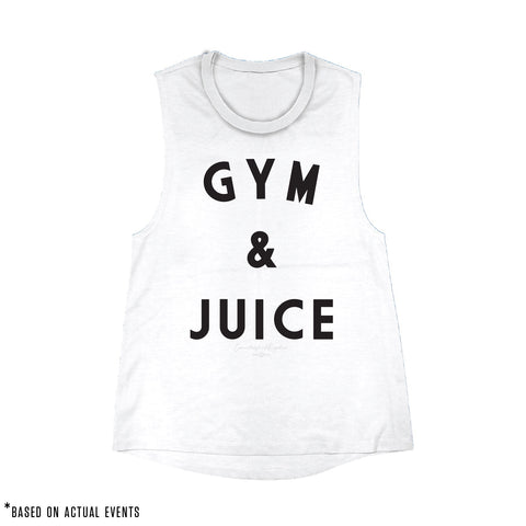 GYM & JUICE Muscle Tank (Distressed White) - Women's