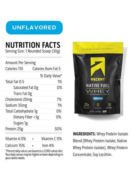Ascent Native Fuel Whey Protein - Unflavored 2 lb. bag