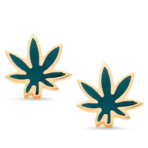 Cannabis Leaf Stud Earrings, Enamel