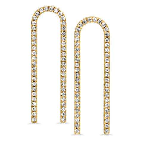 Extended Horseshoe Earrings w/ Diamonds