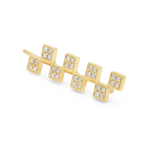 Long Checker (Individual) Earring w/ Diamonds