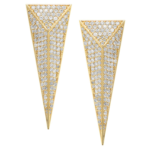 Pyramid Dagger Earrings w/ Diamonds