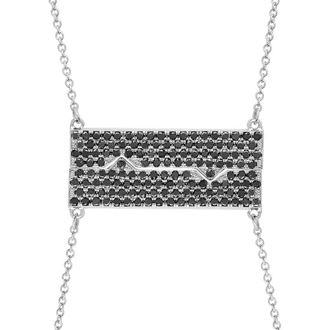 Horizontal Friendship Plate Necklaces w/ Black Diamonds