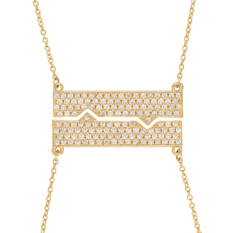 Horizontal Friendship Plate Necklaces w/ Diamonds