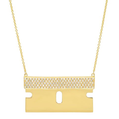 Razor Blade Necklace w/ Diamonds