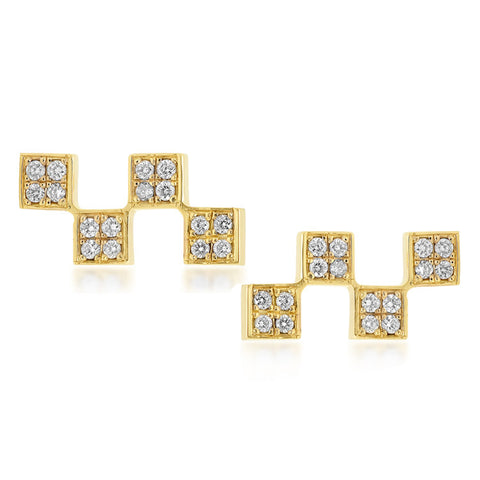 Short Checker Stud Earrings w/ Diamonds