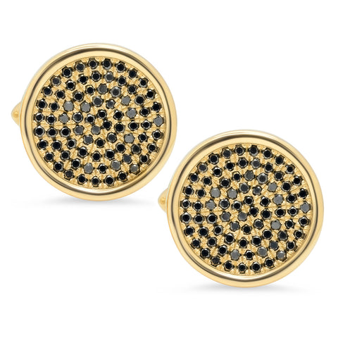 Circle Surface Cuff Links w/ Black Diamonds