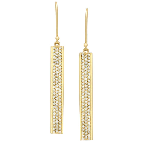 Flat Bar w/ Diamonds Dangle Earrings