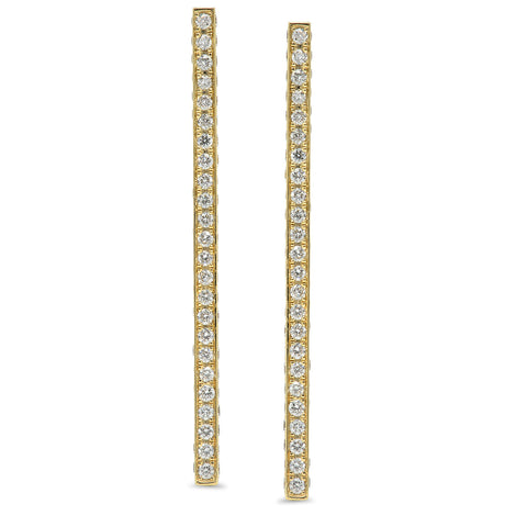 Stick Mid Post Stud Earrings w/ Pave Diamonds