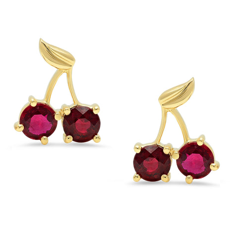 Cherry Stud Earrings w/ Rubies