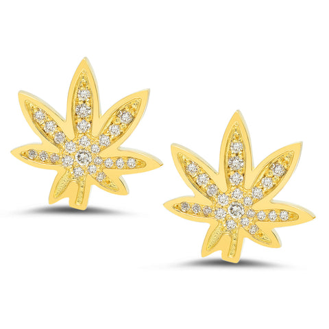 Cannabis Stud Earrings w/ Diamonds