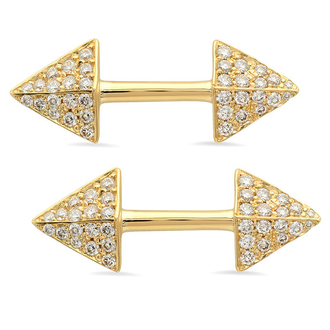 Double Spear Stud Earrings w/ Pave