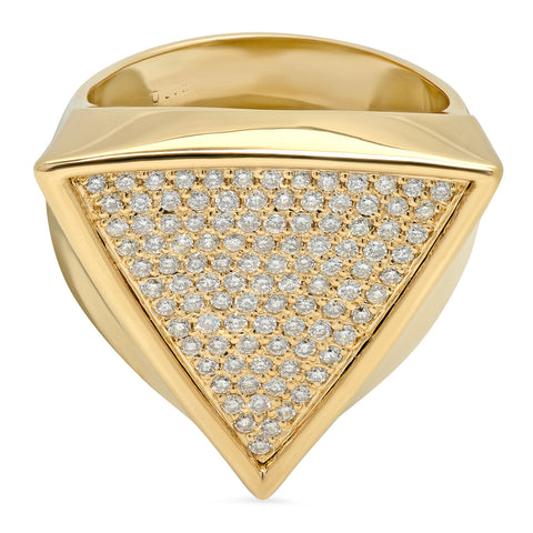 Triangle Surface Ring w/ Diamonds