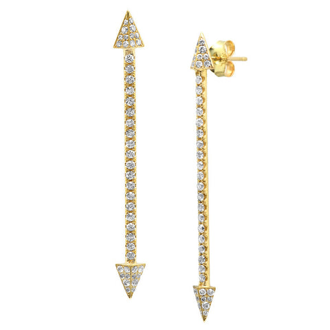 Long Double Arrow Stud Earrings w/ Diamonds