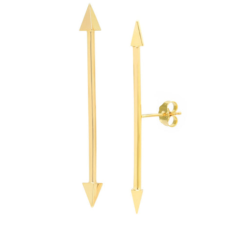 Long Double Arrow Mid-Post Stud Earrings