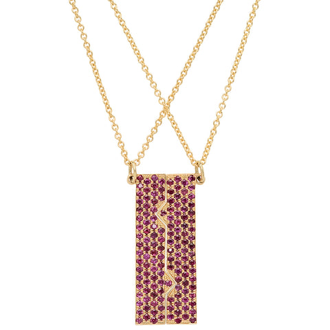 Vertical Friendship Plate Necklaces w/ Rubies