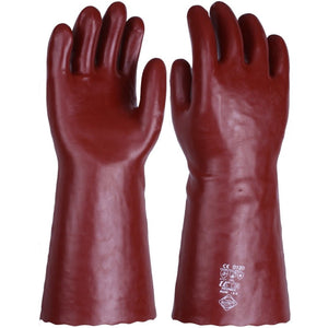 Chemical & Solvent Resistant Red PVC Gauntlet - Gloves