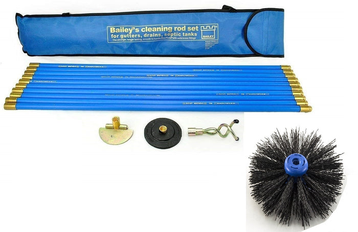 Bailey Industrial Bailey Universal 30ft Chimney Brush Sweep Sweeping Drain Rod Set Kit