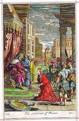 "Blome's Bible History- ""PUNISHMNET OF HAMAN"" -Hand-Colored Engraving -1701"