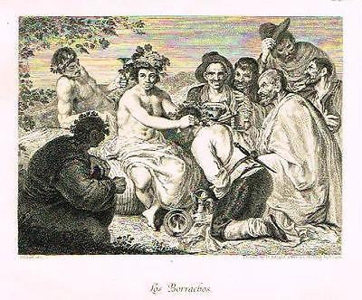 """Artists of Spain"" by Stirling-Maxwelll - LOS BORRACHOS - Steel Engraving -1891"