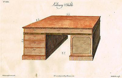 "Chippendale's Design - ""LIBRARY TABLE"" (DESK) - Hand-Col. Engraving -1762"