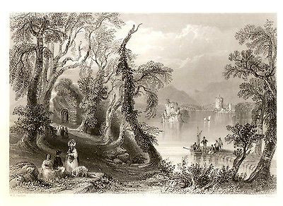 History of Ireland -1867- by Bartlet - INNISFALLEN - Steel Engraving